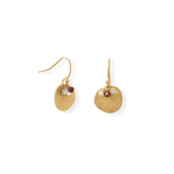 14 Karat Gold Plated Garnet, Labradorite and Pearl Disk Earring
