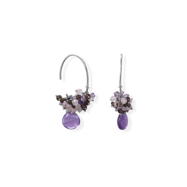Rhodium Plated Amethyst, Multi Stone Beaded Wire Earring