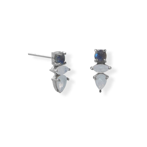 Rhodium Plated Labradorite and Rainbow Moonstone Post Earring