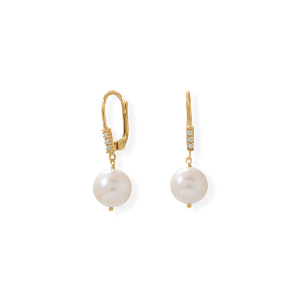 Gold Plated Cultured Freshwater Pearl and CZ Lever Earring