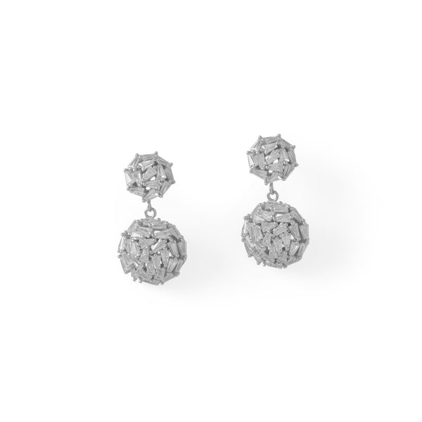 Rhodium Plated CZ 1/2 Dome Drop Earrings