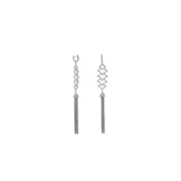 Rhodium Plated CZ Rhombus and Tassel Drop Earrings