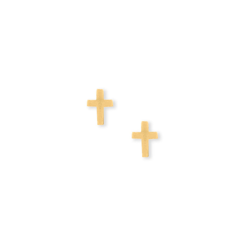 14 Karat Gold Plated Cross Stud Earrings