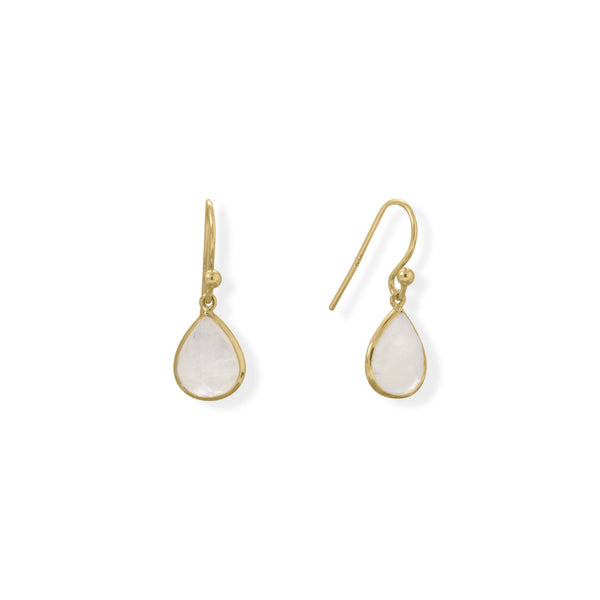 14 Karat Gold Plated Pear Rainbow Moonstone Earrings