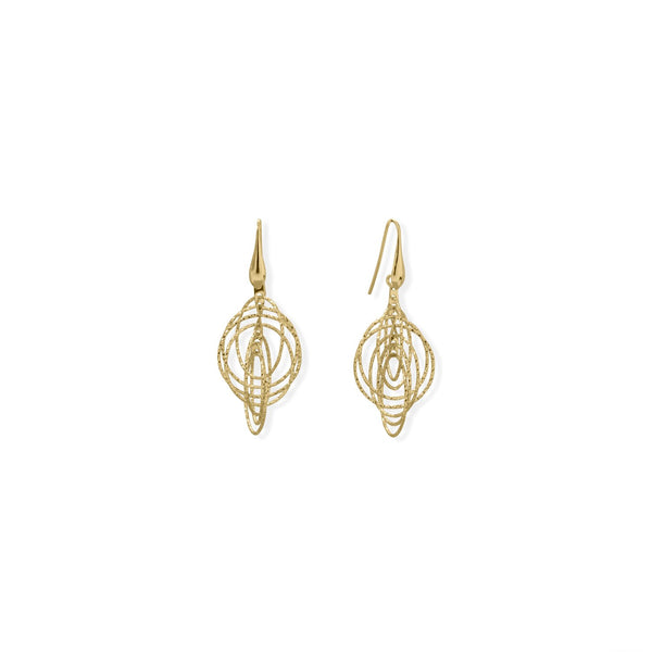 Italian 14 Karat Gold Plated 3-D Drop Earrings