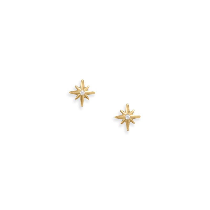 Sweet Stars! 14 Karat Gold Plated CZ Star Stud Earrings