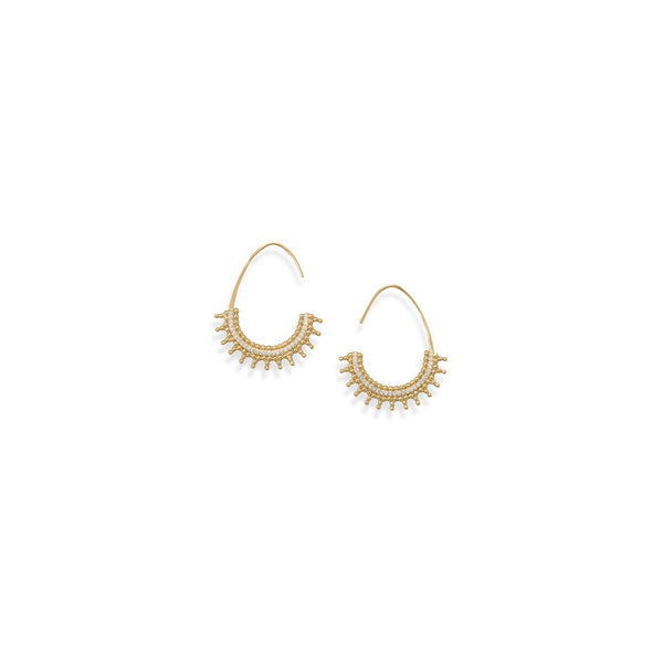 14 Karat Gold Plated Beaded Wire Earrings with CZs
