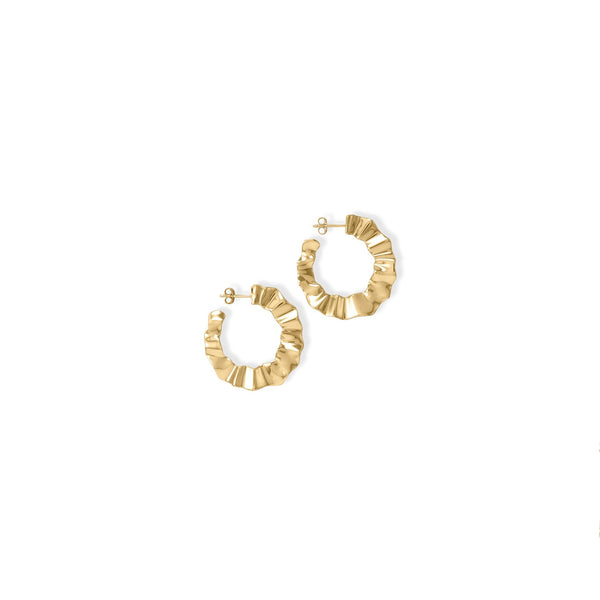 Wonderfully Wavy! 14 Karat Gold Plated Flat Wavy Hoop Earrings