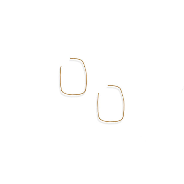 14 Karat Gold Plated Thin Rectangle 3/4 Hoop Earrings