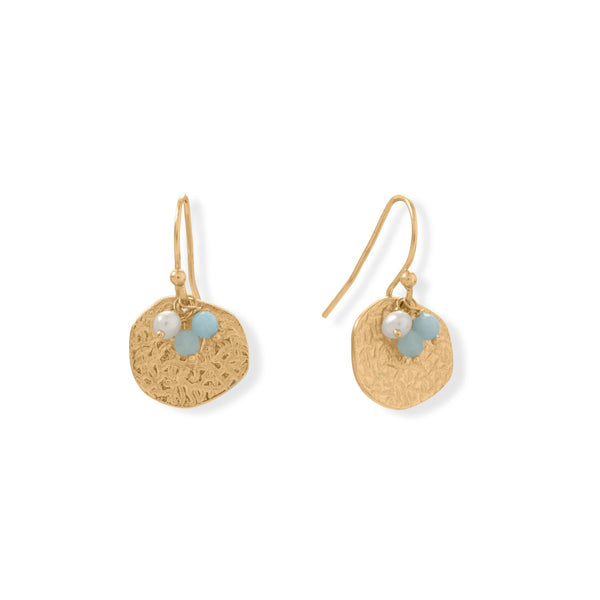 Alluring Aquamarine! 14 Karat Gold Plated Aquamarine and Pearl Disk Earring