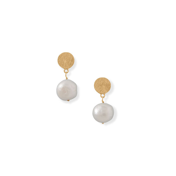 14 Karat Gold Plated Disk and Cultured Freshwater Pearl Drop Earrings