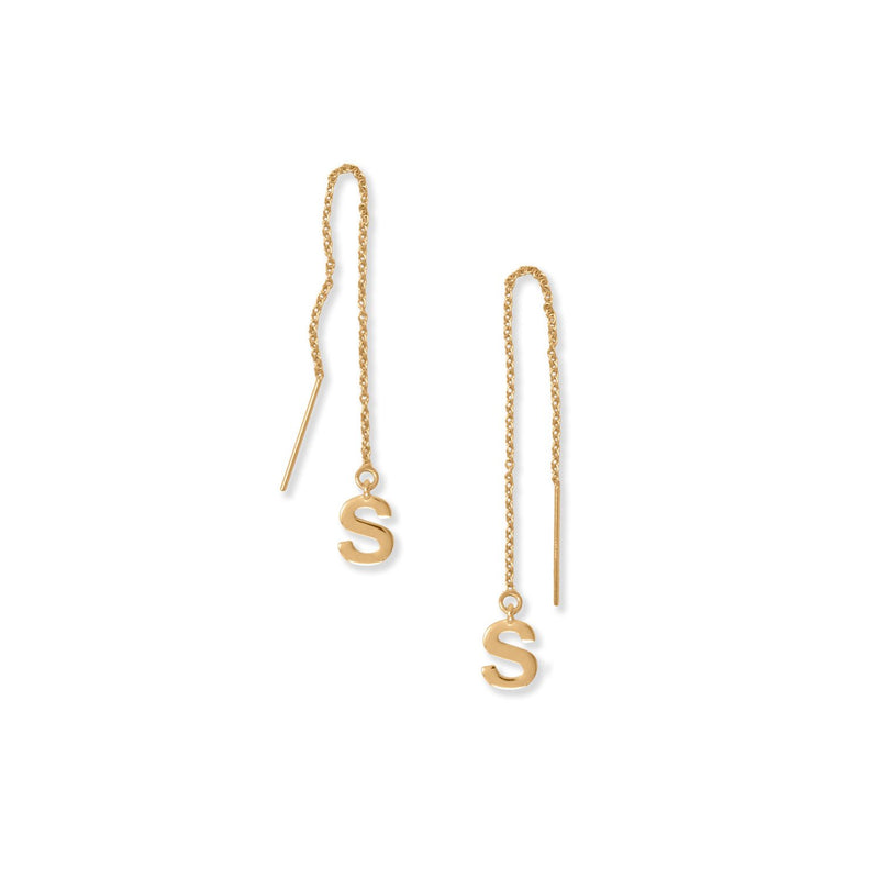 "14 Karat Gold Plated ""S"" Initial Threader Earrings"