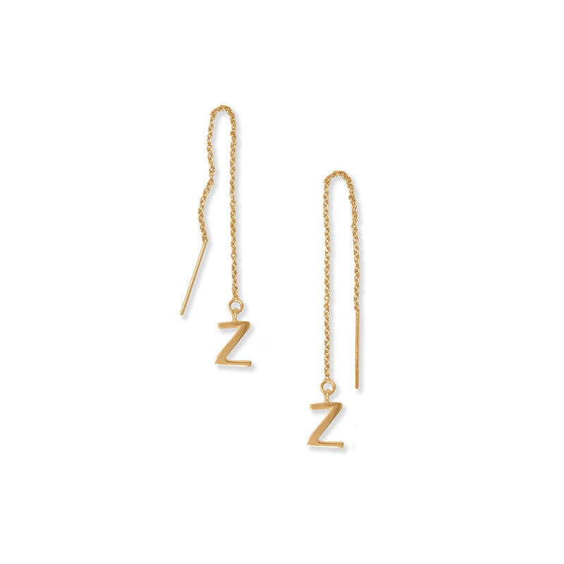 "14 Karat Gold Plated ""Z"" Initial Threader Earrings"