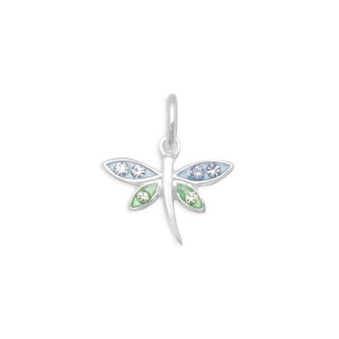 Epoxy Dragonfly Charm with Crystals