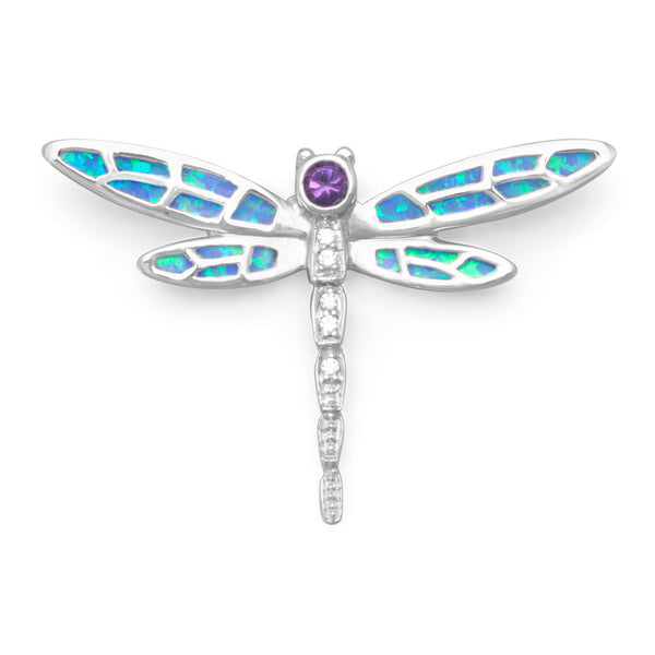 Synthetic Opal and CZ Dragonfly Slide