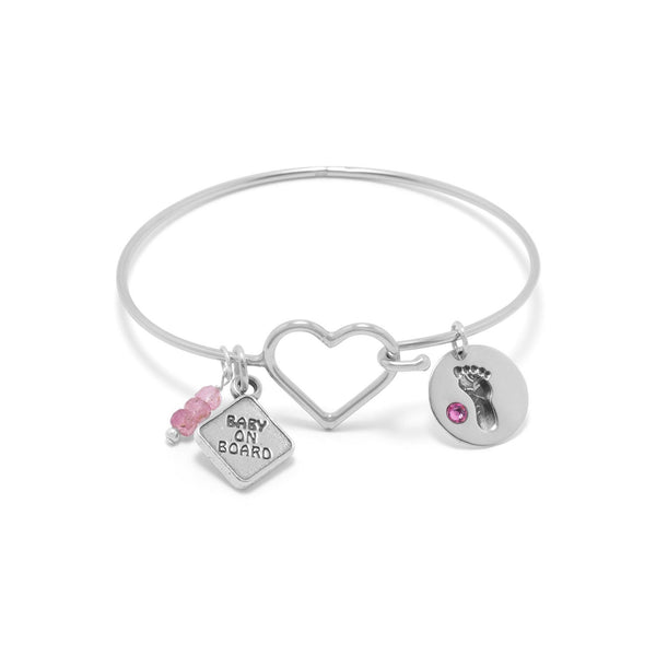Footprint Charm with Pink Crystal