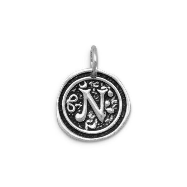 "Oxidized Initial ""N"" Pendant"