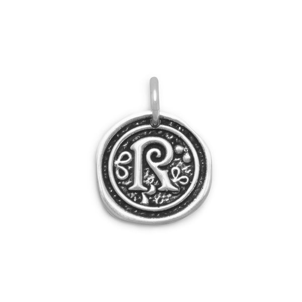 "Oxidized Initial ""R"" Pendant"
