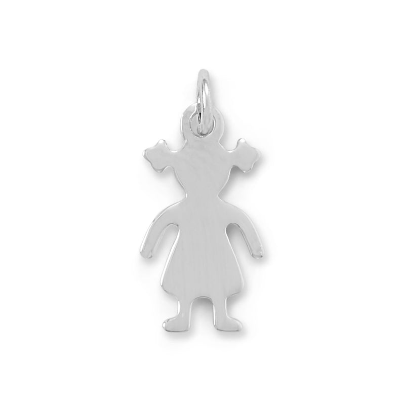 Rhodium Plated Girl Charm