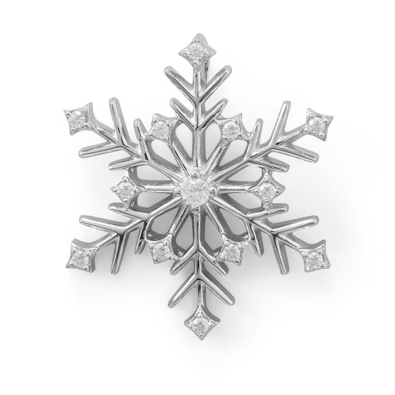 Rhodium Plated 6 Point CZ Snowflake Slide