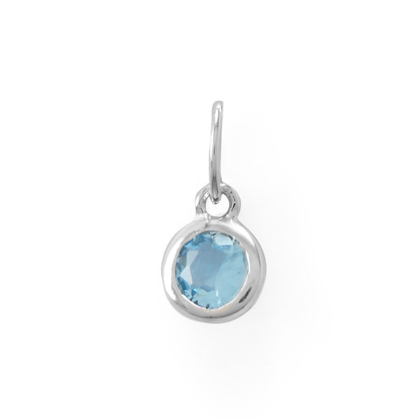 Round CZ March Birthstone Charm