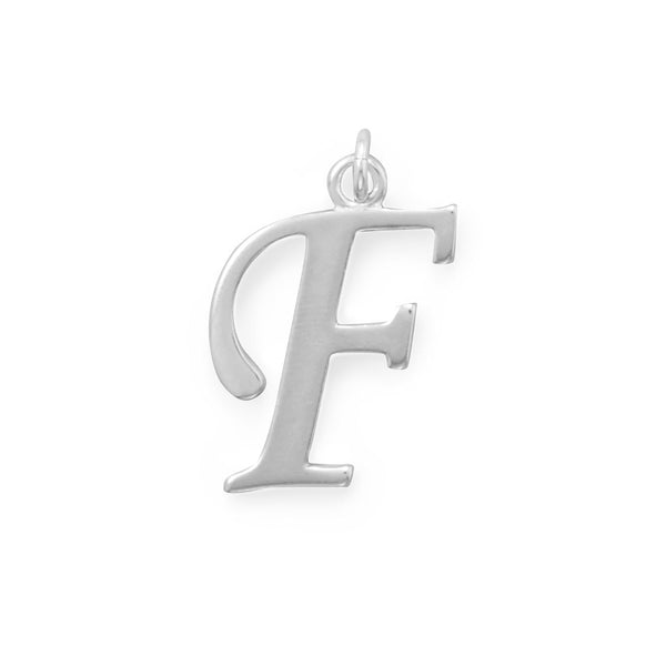 Polished Letter F Initial Pendant
