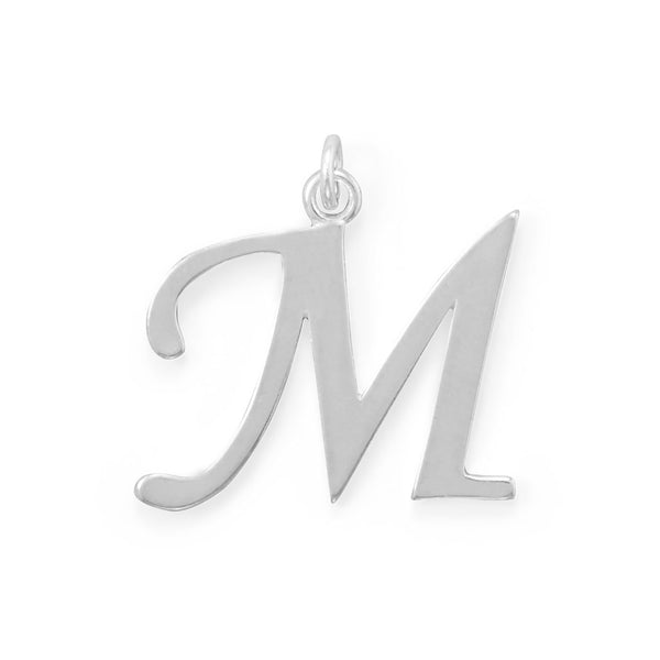 Polished Letter M Initial Pendant