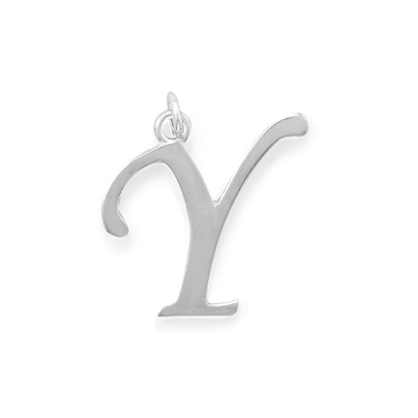 Polished Letter Y Initial Pendant