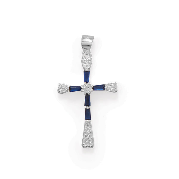 Rhodium Plated Blue CZ Cross Pendant