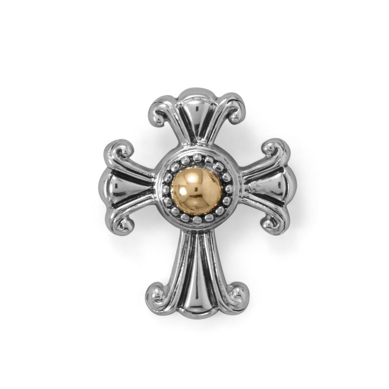 Ornate 14 Karat Gold and Rhodium Plated Silver Cross Slide