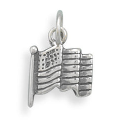 Small Oxidized American Flag Charm
