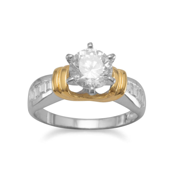 5mm Round CZ and Baguette Silver/14K Gold Plated Ring