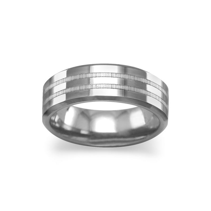 Tungsten Carbide Men's Ring with Double Line Design