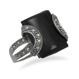 Black Onyx and Marcasite Ring