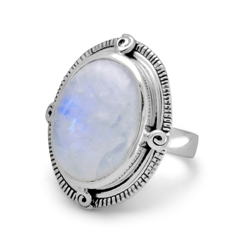 Oxidized Oval Rainbow Moonstone Ring