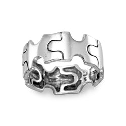 Oxidized Puzzle Piece Ring