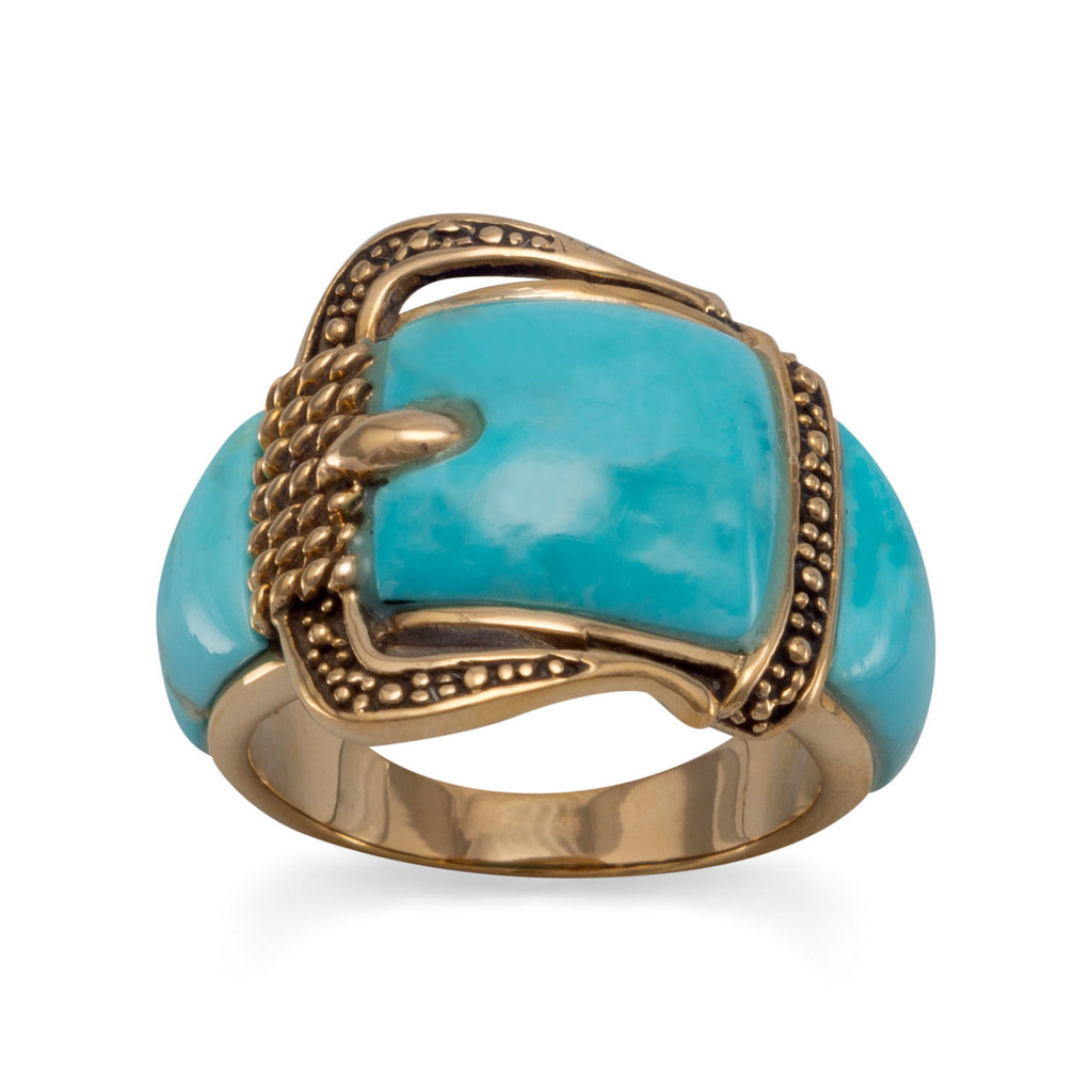 Bronze and Reconstituted Turquoise Buckle Design Ring