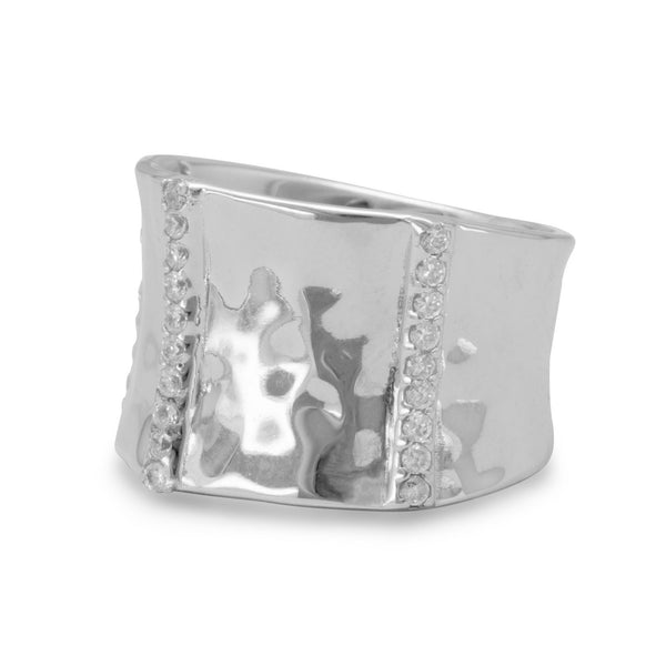 Rhodium Plated Ring with CZs