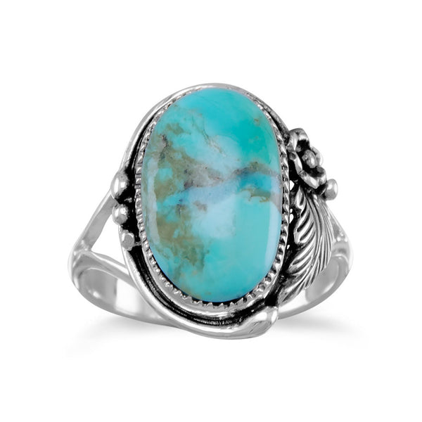 Oval Reconstituted Turquoise Floral Design Ring