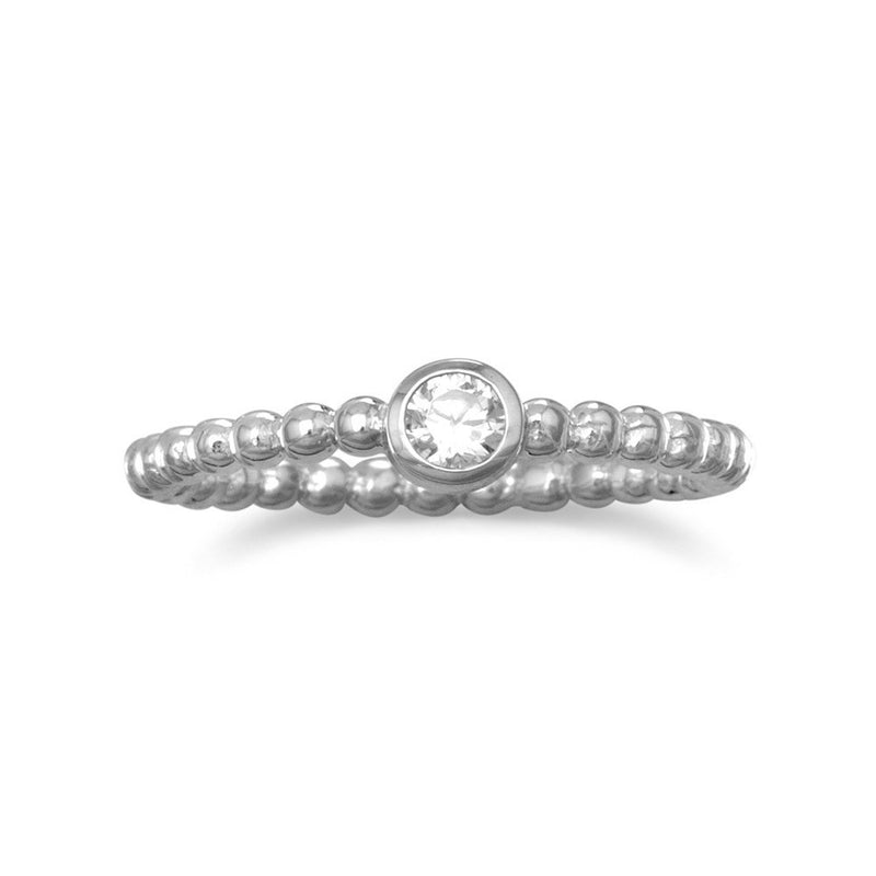 Rhodium Plated CZ with Beaded Band Ring