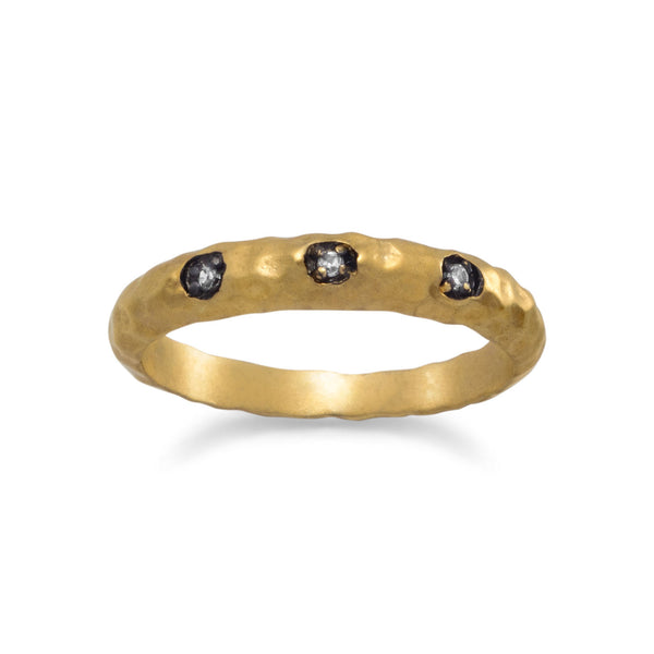 14 Karat Gold Plated CZ Ring