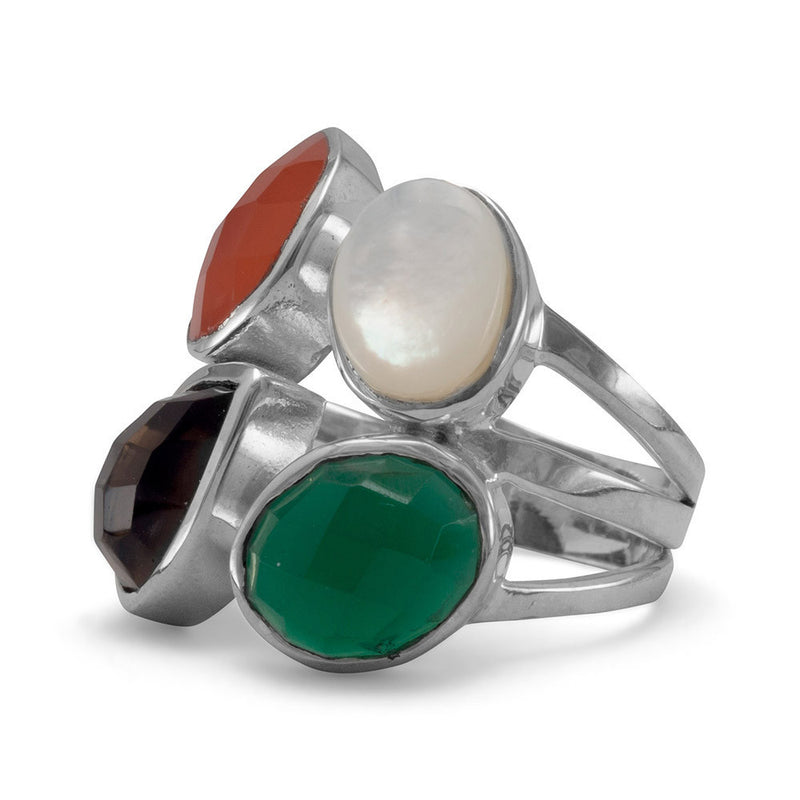 Onyx, Carnelian, Shell and Quartz Ring