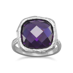 Textured Purple CZ Ring