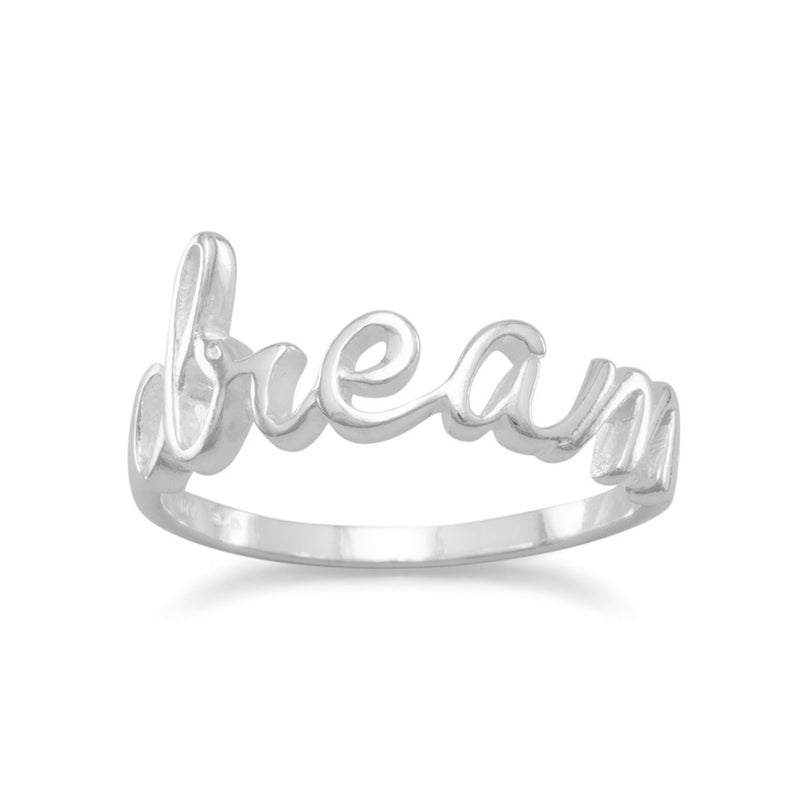 "Polished Script ""dream"" Ring"