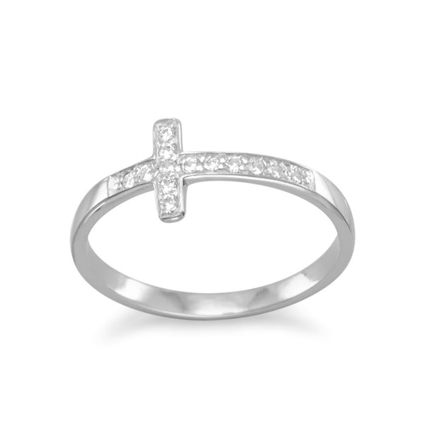 Rhodium Plated CZ Sideways Cross Ring