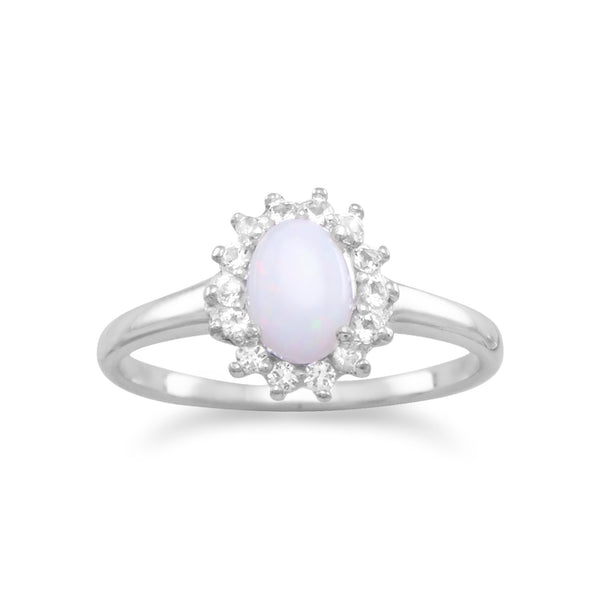 Rhodium Plated White Topaz and Australian Opal Ring