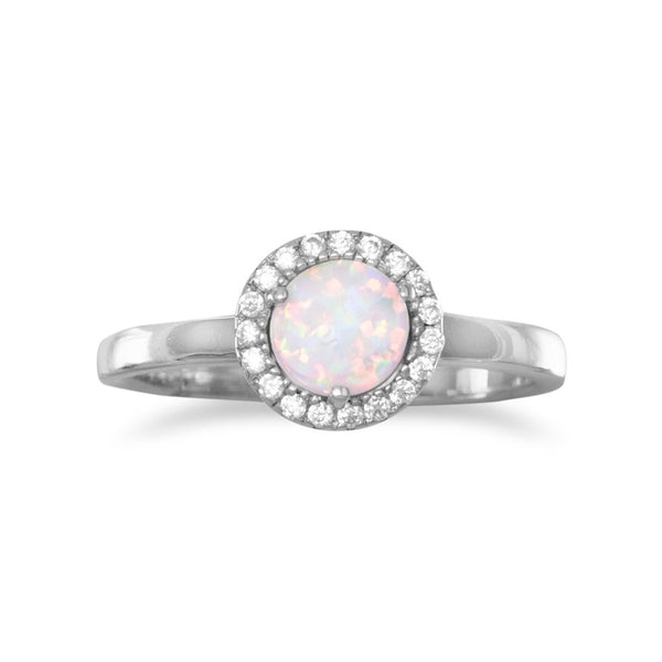 Rhodium Plated Synthetic White Opal and CZ Ring