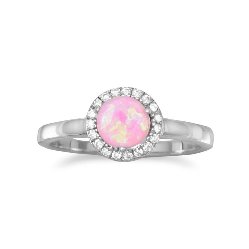 Rhodium Plated Synthetic Pink Opal and CZ Ring