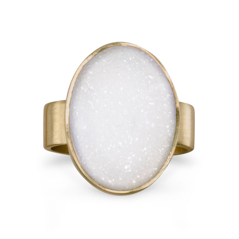 14 Karat Gold Plated White Druzy Ring