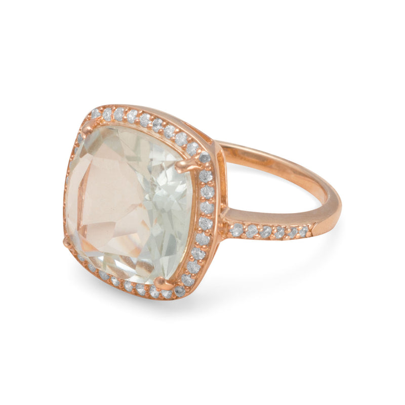 14K Rose Gold Plated Prasiolite Ring